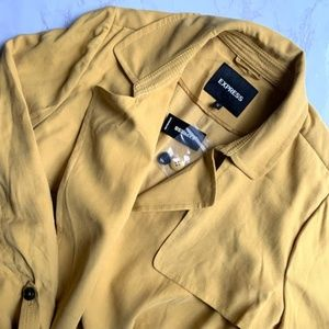 Express Mustard Yellow Trench Coat Jacket Belted